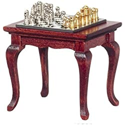 Dollhouse Mahogany Table with Chess Set Miniature Study Furniture and Accessory