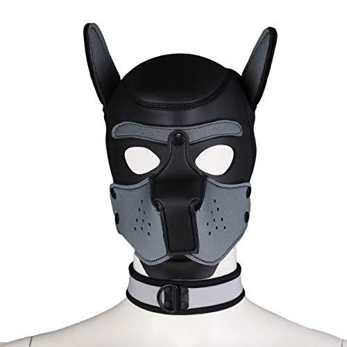 (FeiGu Unisex Costume Dog Head Mask with Collar, Neoprene Full Face Puppy Hood Cosplay Mask Choker Set)