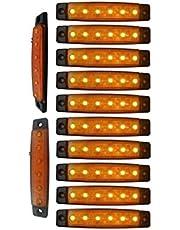 """YUK 10 pcs 3.8"""" 6 LED Side Led Marker Trailer marker lights for trucks, Marker light amber, Rear side marker light, Truck cab marker lights, RV marker light (Yellow)"""