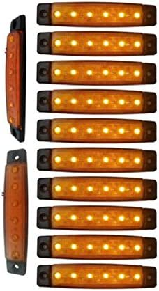 YUK 10 LED side lights, 6 LED lights for trailer signaling, for trucks, marker light, amber, rear side marker light, truck cab signaling lights(amarillo)