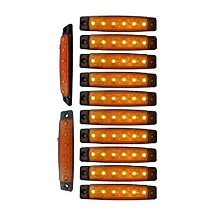 marqueur lumi/ère Ambre partie arri/ère Feu de Gabarit camion Cab Feux de gabarit Yuk 10 pcs 9,7 cm 6 LED c/ôt/é LED MARKER Remorque Feux de gabarit pour camion RV Convoi