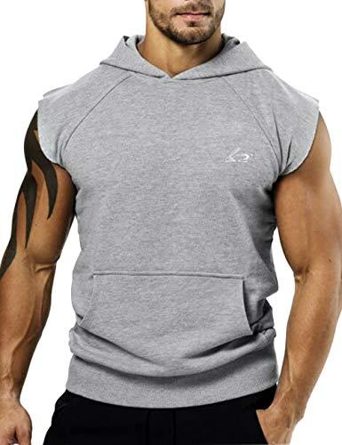 PAIZH Men's Workout Bodybuilder Hoodies Sleeveless Cotton Sweatshirts (Grey,S)