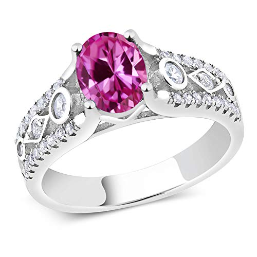 Gem Stone King 2.21 Ct Pink Created Sapphire 925 Sterling Silver Engagement Ring (Size 7)