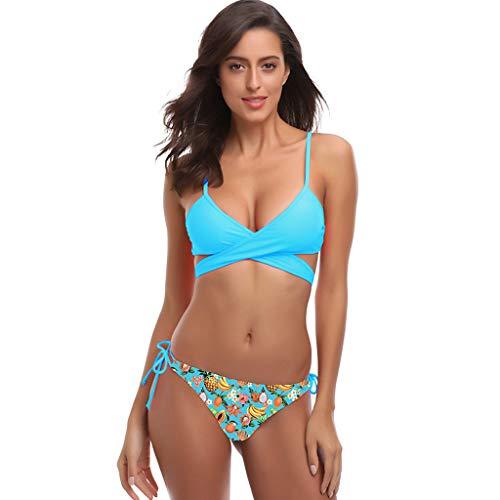 TUSANG Women's apless Bra Horizontal Stripe Bandeau Bottom Set SwimsuitSolid Scoop Neck Push up Padded Bikini (Blue C,US-4/CN-S)