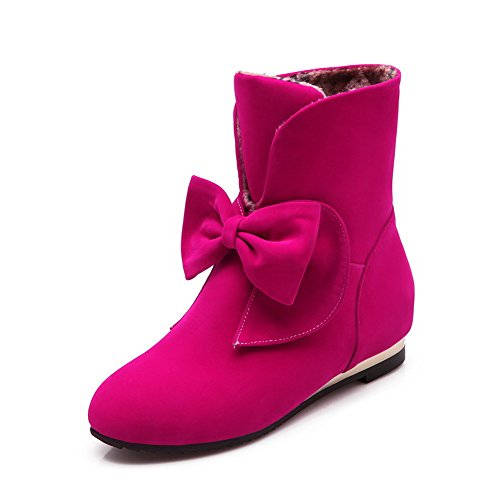 AgooLar Women's Pull-on Round Closed Toe Low-Heels Imitated Suede Low-top Boots Rosered