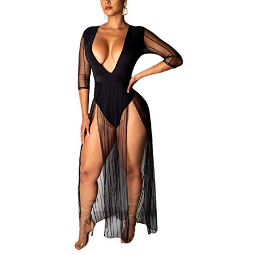 Tulle Overlay V-neck Dress - Womens Sexy Low Cut V Neck Bodycon Bodysuit Party Club Tulle Mesh Maxi Dress Long Rompers Black
