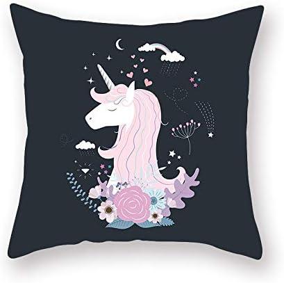 2 juegos de fundas de cojines, unicornio casero de dibujos animados de estilo nórdico 45 *