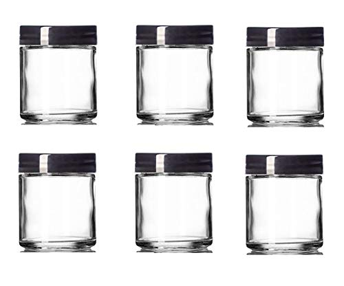 4 Oz CLEAR Glass Jar Straight Sided with Black Lid - Pack of 6 (4 OZ, Clear)