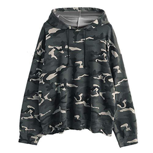 Sunhusing Women's Camouflage Long Sleeve Hoodie Sweatshirt Oversized Drawstring ()