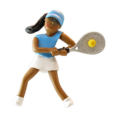 - Personalized Tennis Girl Christmas Tree Ornament 2019 - African-American Athlete Hit Racket Team Player Skirt Athlete Hobby School Active Profession Black - Free Customization (Female Ethnic)