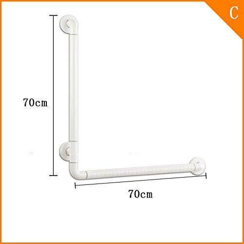 Toilet shower toilet handrail bathroom elderly people with disabilities disabled elderly anti-skid bath L-type handrail railing (Color : White, Size : 70*70cm) by Bathroom handrails