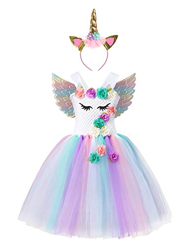 Muababy Baby Girl Unicorn Costume Pageant Flower Princess Party Tutu Dress with Headband (9-10 Years, 1438) -