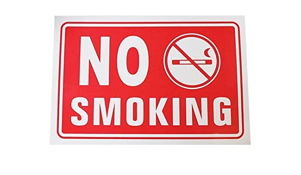 Cartel No fumar Inglés plástico (No Smoking Pegatinas Red ...