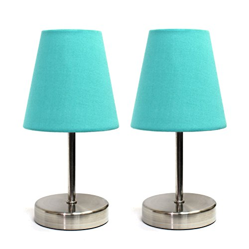 Simple Designs Home LT2013-BLU-2PK Sand Nickel Table Lamp wi