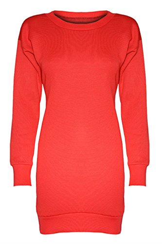 Damen Neu York Brooklyn 98 Stier 69 Überdimensional Minikleid Lang Sweatshirt - Unirot - Lang Baggy Locker Minikleid, 44-46