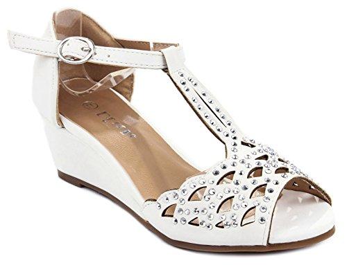 Blaze04 Kids White Rhinestone Peep Toe Cut Out Ankle Strap Wedge Dress Sandal Shoes-4