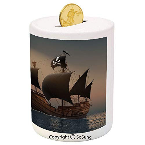 SoSung Pirate Ceramic Piggy Bank,Ship with Black Flags Floating on Ocean in Rays of Sun Caravel Watercraft Nautical Decorative 3D Printed Ceramic Coin Bank Money Box for Kids & Adults,Multicolor