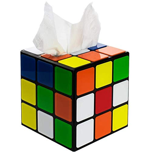 (getDigital Magic Cube Tissue Box Cover Inspired by The Big Bang Theory - Decorative Holder for Square Tissue Boxes with a Secure Magnetic Lock - 5.5 x 5.5 x 5.5 inch)