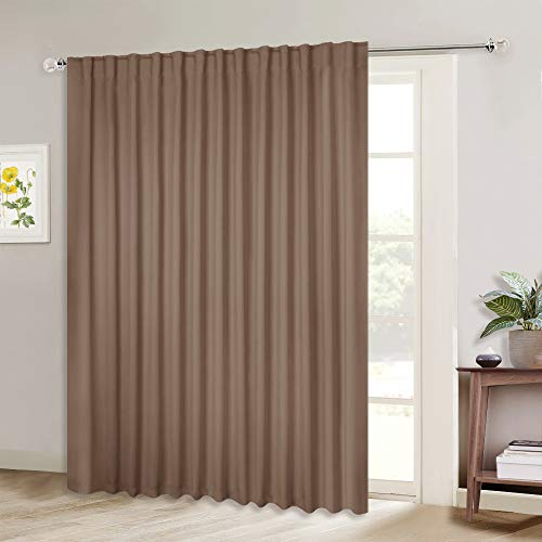 NICETOWN Extra Wide Blackout Patio Blinds, Thermal Blackout Patio Door Curtain Panel, Sliding Door Insulated Curtains with Back Tab for Extra Wide Windows (Cappuccino, 100