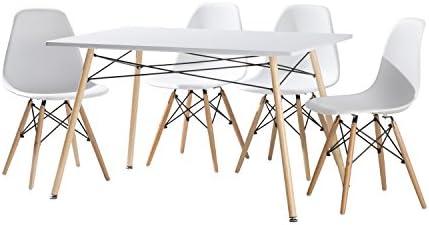 cmc Conjunto de Comedor 4 sillas nordicas Blanco Patas de Madera y ...