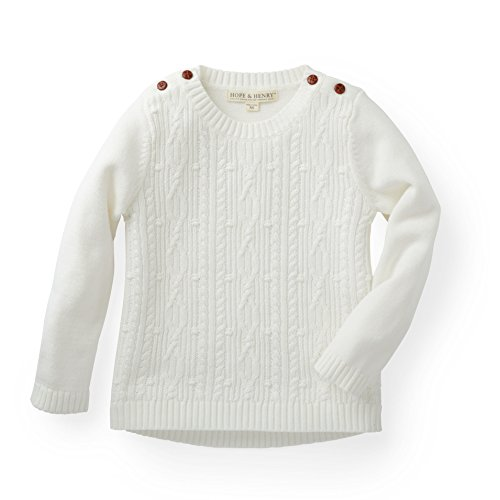 Hope & Henry Girls' White Cable Pullover Sweater Made with Organic Cotton - Organic Cotton Cable Sweater
