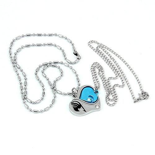 Fairy Tail Lovers Necklace Heart Pendant Charms