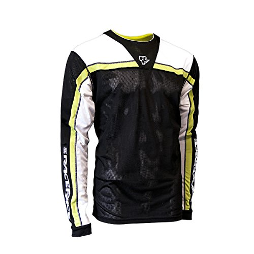 Race Face Stage Long Sleeve Jersey, Black/Lime, Medium (Cycling Jersey Face)