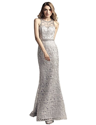 Clearbridal Long Mermaid Lace Prom Dresses Beaded Sheer Back Silver Evening Gown For Women