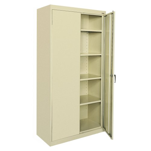 Sandusky Lee Welded Steel Classic Storage Cabinet, 4 Adjustable Shelves, Locking Swing-Out Doors, 72″ Height x 36″ Width x 18″ Depth