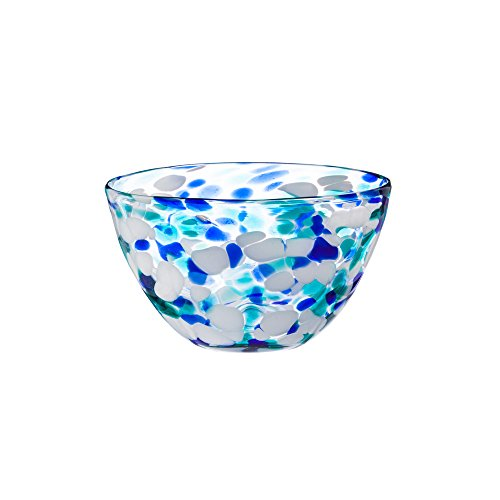 Cypress Home Blue Confetti Glass Dinner Bowl ()