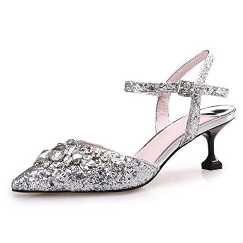 Paillettes GTVERNH Boucles Chaussures Baotou Pointues Mode des silvery des Chaussures Mince Sandales Cm Perceuse Femme Chaussures 5 Et x1r1qXwSH