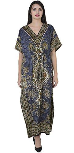 SKAVIJ Kaftan Dresses for Women V Neck Caftan Plus Size Long Nightgown Cover up (Dress Silk Long)