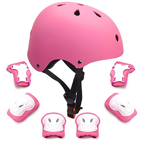 7Pcs Kids Protective Gear Set Kids Bike Helmet Knee Elbow Pads Wrist Guards Pads for 3-8 Years Boys Girls Cycling Scooter Skateboard Rollerblading Hoverboard Child Sports Protective Gear -