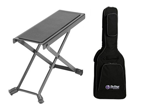 Combo offer On Stage Guitar Foot Rest with Deluxe Electric Guitar Gig Bag by OnStage