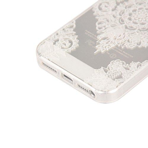 Für Apple iPhone 5 5G 5S / iPhone SE (4 Zoll) Hülle ZeWoo® TPU Schutzhülle Silikon Tasche Case Cover - YG006/ Papier-Schnittblumen
