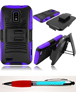 Accessory Factory(TM) Bundle (the item, 2in1 Stylus Point Pen) For ZTE Warp LTE N9510 Side Stand Cover Case With Holster - Black+Purple