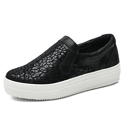 Tiosebon Donna Alta Piattaforma Scarpe Mocassini Con Paillettes Moda Slip On Sneakers 6305 Nere