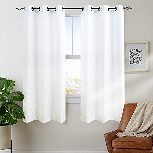 Jacquard Curtains for Living Room 63 inch Length Trellis Geometric Pattern White Light Filtering Window Curtains for Bedroom Privacy Opaque Window Treatment Set, Grommet Top, 2 - Panels Opaque