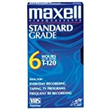 Maxell T120GX/5PK VHS Cassette Standard Grade T-120, 6 Hour 5-Pack