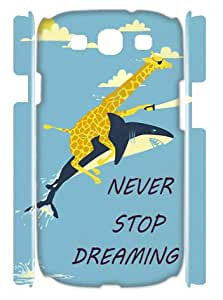 Giraffe Riding Shark never stop dreaming TPU Covers Cases Accessories for Samsung Galaxy S3 I9300