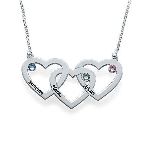 Intertwined Hearts Necklace with Birthstones - Custom Made with Any Name! (14 Inches)