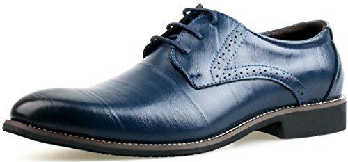 LIYZU Men's Leather Lace Up Modern Dress Oxford Shoes