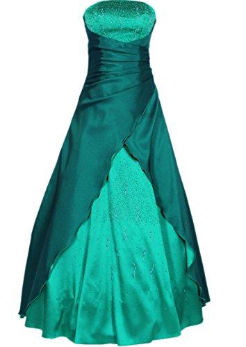 Langes Satin Abendkleid grün 2007 mit Perlen und abnehmbaren Trägern und Stola Gr. 34 - 42
