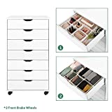 DEVAISE 7-Drawer Chest, Wood Dresser Organizer with Removable Wheels, Storage Cabinet for Bedroom, Living Room, Closet, White