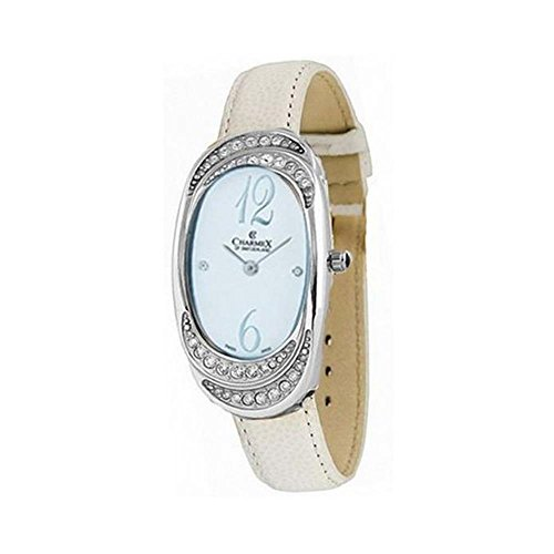 CHARMEX WOMEN'S L'S STRAP WATCH WHITE LEATHER BAND SWISS QUARTZ WATCH 5785