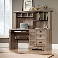 Harbor View Salt Oak Computer Desk with Hutch