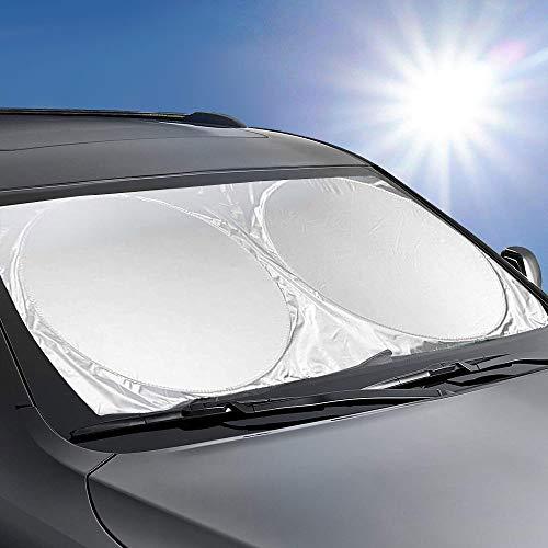 KKTICK Windshield Sun Shade Foldable, Car Front Window Sun Shade Universal, Sun Reflector for Car Windshield Visor Sun UV Blocks - Keeps Your Car Cooler (Medium 59 x 27 inches)