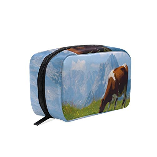 Portable Organizer Makeup bag,Indian Animals Cow Cosmetic Bags Multi Compartment Travel Pouch Storage for Women (Best Office Wear Lipstick For Indian Skin)