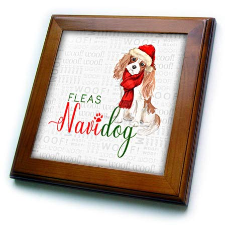 3dRose Doreen Erhardt Christmas Collection - Cute Cavalier King Charles Spaniel in a Santa Hat for Christmas - 8x8 Framed Tile (ft_299895_1) - Cavalier King Charles Spaniels Framed