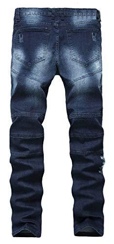 Battercake Delgados Pantalones Elásticos Vaqueros Hombres Los De Ajustados Destruidos Cómodo AA0rqxwC